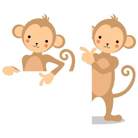 Two types of monkeys and white board