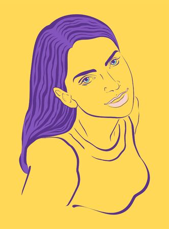 yellow hair: Young woman with puple hair on yellow background