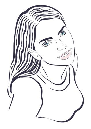 blue eyes: Young woman with blue eyes Illustration