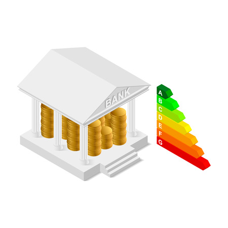 commercial tree service: Vector isometric bank building icon
