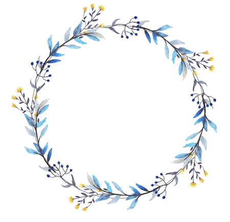 Watercolor floral wreath on white background. Floral design elements for wedding invitations, greeting cards, blogs, logo and prints