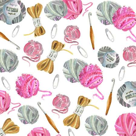 Watercolor pattern of knitting tools and crafts isolated on white background closeup hand made. Yarn, crochet hook, buttons, pins