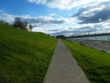 A view of the renovated waterfront Izhevsk Stock Photo