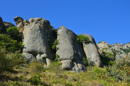 Stone ghost valley on the Crimean peninsula in Russia