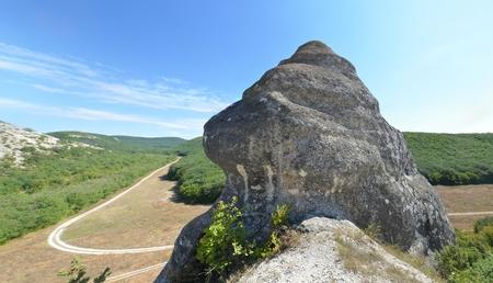 Limestone caves on the Crimean peninsula in Russia