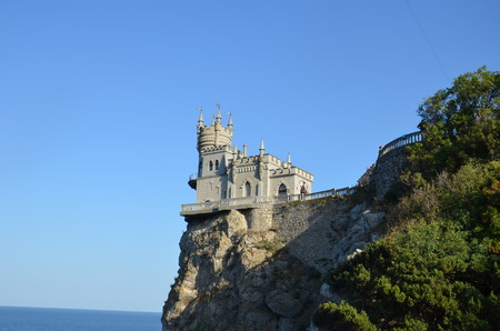 Castle Swallows Nest in Crimea in Russia against the background of the cloudy sky
