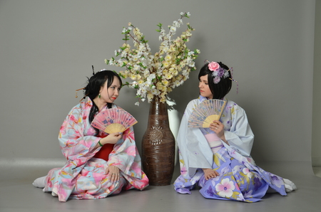A girls in a yukata Tea ceremony photo