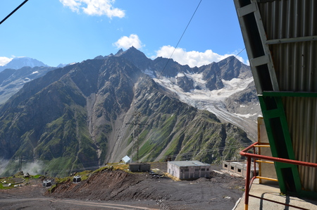 Ascent on a cable car to Elbrus at a height Stock Photo