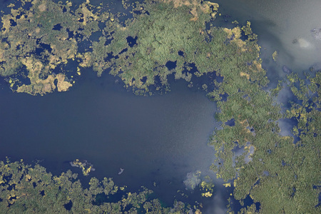 Lake in the depths of Siberia from a bird's eye view