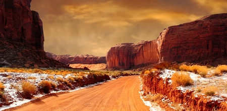 Beautiful Image of monument Valley In the Winter photo
