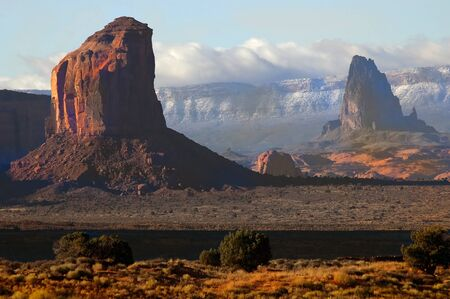 spirtual: Classic towers of eroded rock in spirtual monument valley Stock Photo