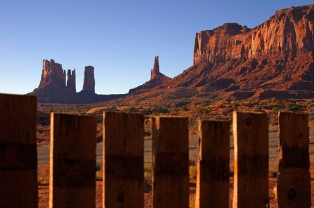 spirtual: Classic image of a very spirtual monument valley at dawn Stock Photo