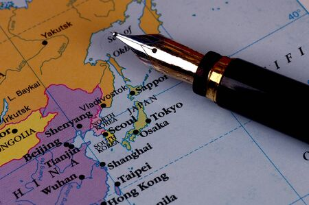 far east: De cerca la imagen de un lápiz sobre un mapa de Japón