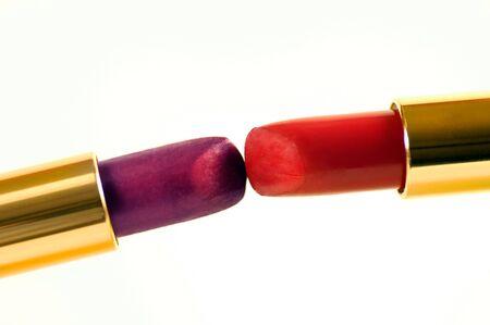 Macro Close up of Kissing lipstick on White photo
