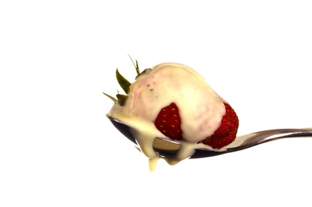 strawberry with dripping ice cream photo