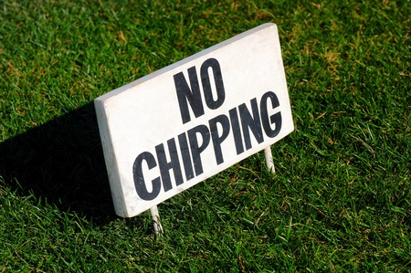 Sign on putting green