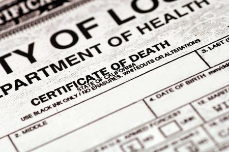 Death Certificate 版權商用圖片