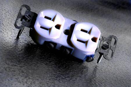 toma corriente: Primer plano de Toma de corriente el�ctrica Foto de archivo