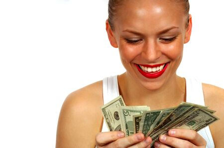 Woman Counting Money photo