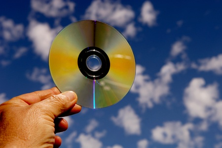 Man Holding DVD Stock Photo