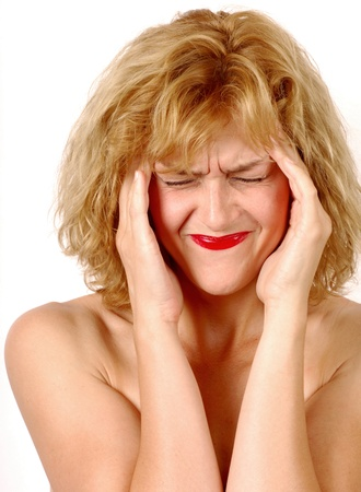 Woman with headache Stock Photo - 10948643