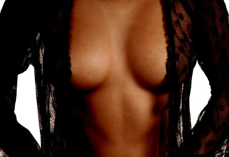 hot breast: Black Lingerie Over Breasts