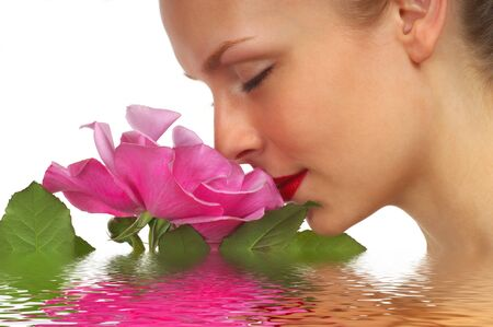 water lilly: Lady With Pink Rose on White Background