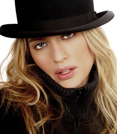 Very Sexy Blond Model with Vintage bowler hat on white