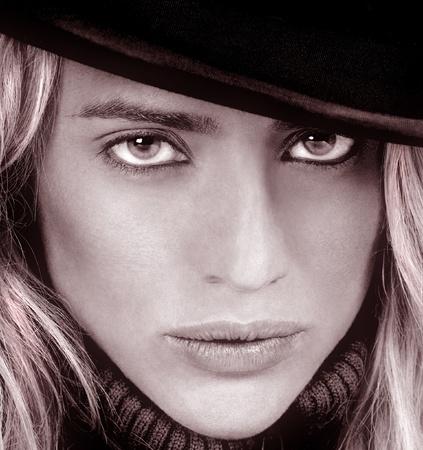 Classic Toned Image of Beautiful Blond Model Close up photo