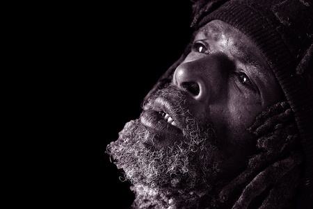 disheartened: Powerful Black and White Image of Homeless Black Man