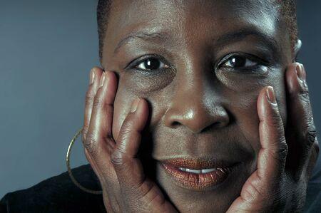 sincere: Beautiful close portrait of a sincere black woman