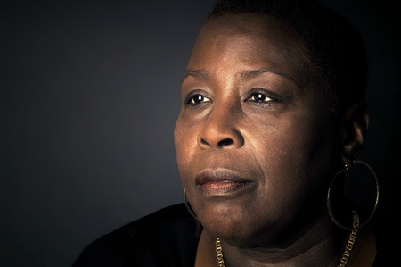 grieving: Powerful Portrait of a Afro American woman with wisdom
