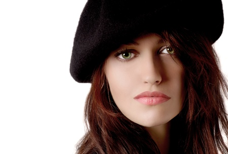 Beautiful young Woman on white with Beret Stock Photo - 10948624