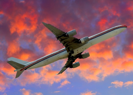 jetliner: Modern Jetliner departing into the friendly skies Stock Photo