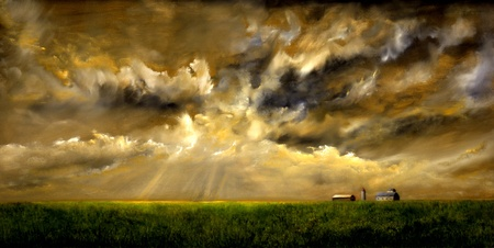farmhouse: Original Oil Painting of a grainfield with storm
