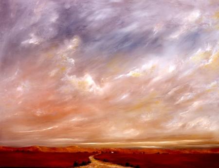 desert storm: Pintura al �leo original de una tormenta en las sierras orientales de alta