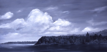Original Oil Painting of Auke Bay In Alaska Stock Photo - 10948488