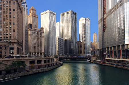 illinois river: Dramatic Image of the Chicago River from michigan Ave