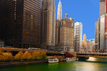 Dramatic Image of the Chicago river from michigan Ave Stock Photo