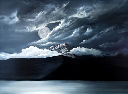volcanic landscape: Original Oil Painting of the Moon over lake Tahoe