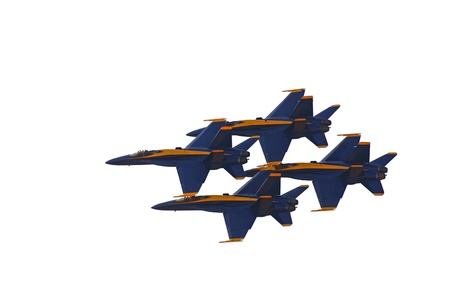 f18: Image of 4 Blue Angels flying in Formation On White