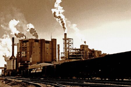 hellish: Global Warming image of vintage mill in america [noise added] for impact