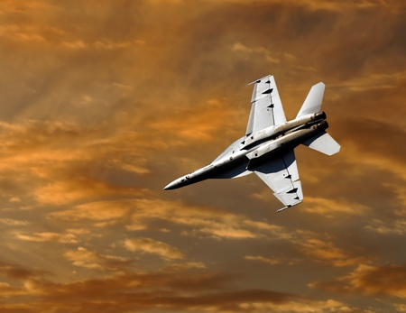 Image of a F-18 Hornet Fighter jet Diving In Editorial