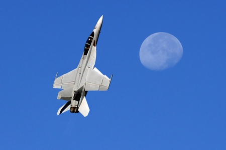 jet fighter: Beautiful Image of Military F-18 and the Moon