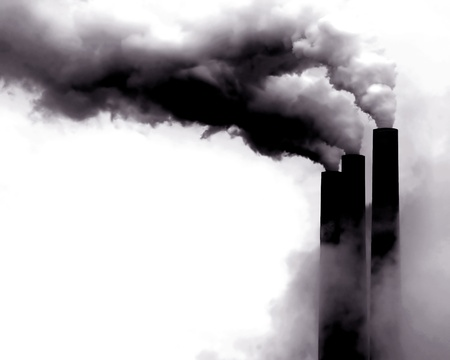 pollution: Scary Image of Power Plant emissions in America