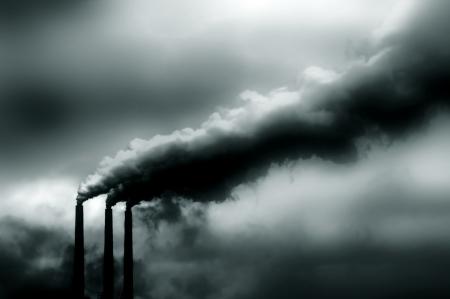 Image of pollution coming from Power Plant in America Stock Photo