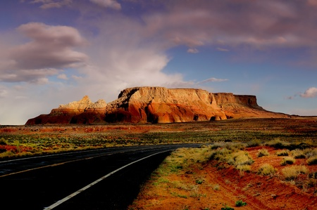 The beautiful Road Going Into Monument Valley