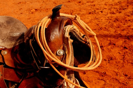 tack: A Nice Image of a Navajo Western saddle Stock Photo