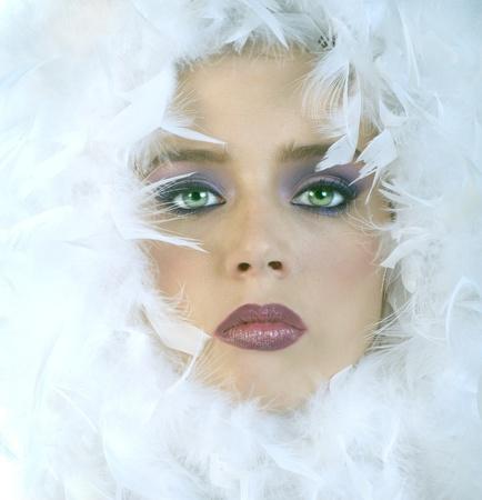 Belle image d'une femme en Plumes Banque d'images - 10948533