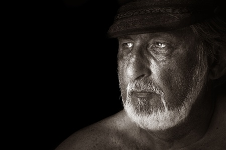 sailor hat: Striking Image of a sea captain On Black Stock Photo